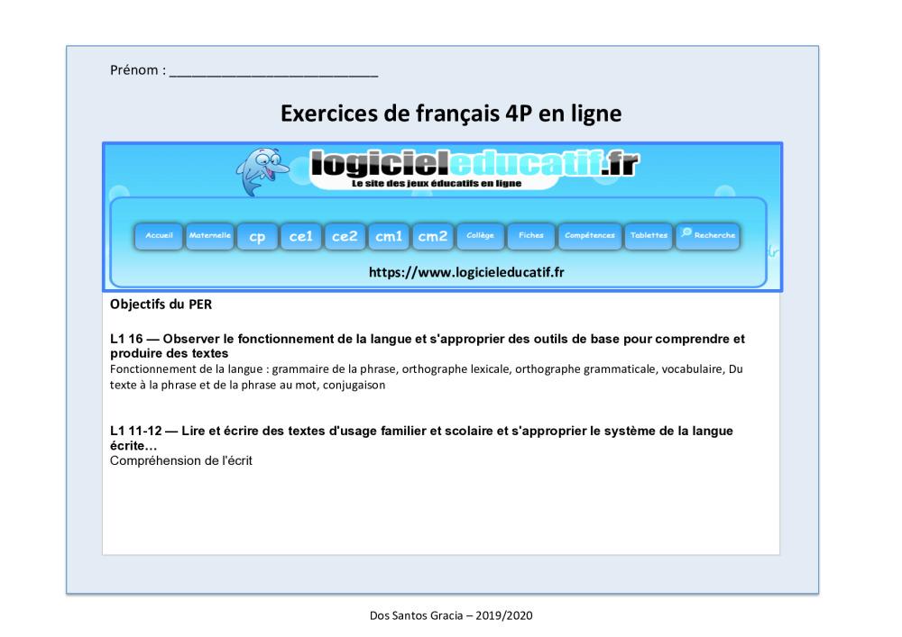 Exercices En Ligne De Math Et De Francais Bdrp
